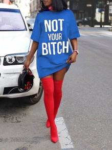 "Blue ""NOT YOUR BITCH"" Short Sleeve Round Neck Casual Mini Dress"