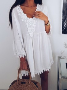 White Patchwork Lace Draped V-neck 3/4 Sleeve Going out Mini Dress