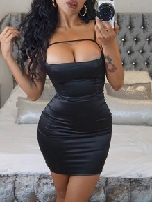 Black Lace up Satin Spaghetti Strap Backless Clubwear Ladies Fashion Mini Dress