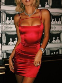 Red Lace up Satin Spaghetti Strap Backless Clubwear Ladies Fashion Mini Dress
