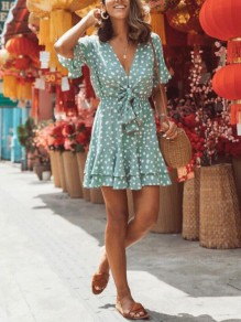 Light Blue Polka Dot Ruffle Bow V-neck Short Sleeve Bohemian Vacation Mini Dress