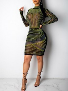 Black-Green Geometric Rhinestone Grenadine Sheer Sparkly Bodycon Banquet Party Mini Dress