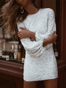 White Patchwork Sequin Sparkly Glitter Lantern Sleeve Birthday Party Clubwear Bodycon Mini Dress