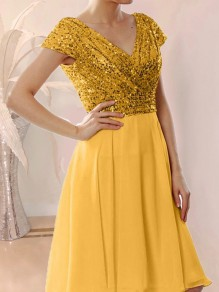 Yellow Patchwork Sequin Wrap Glitter Sparkly V-neck Tulle Ball Gown Prom Mini Dress