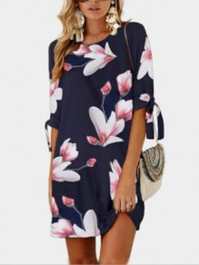 Dark Blue Floral Mexican Print Elbow Sleeve Round Neck Fashion Mini Dress