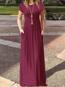Burgundy Pockets Short Sleeve Round Neck Loose Casual Ladies Maxi Dress