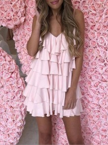 Pink Cascading Ruffle Spaghetti Strap V-neck Sweet Fashion Party Cake Mini Dress