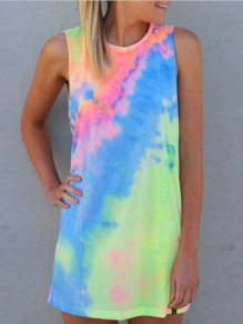 Blue Colorful Tie Dye Fashion Novelty Casual Comfy Mini Dress