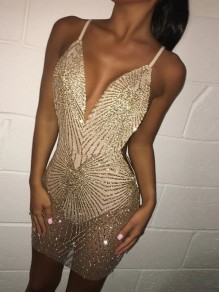 Golden Patchwork Bright Wire Bronzing Deep V-neck Sheer Grenadine Clubwear Bodycon Party Mini Dress