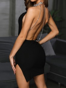 Black Patchwork Chain Side Slit Halter Neck Backless Fashion Mini Dress