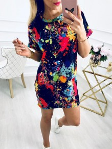 Navy Blue Floral Print Round Neck Short Sleeve Fashion Mini Dress