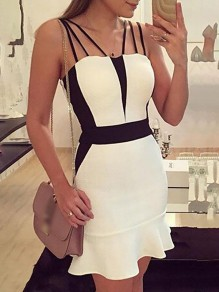 White Ruffle Fishtail Hit Color Big Swing Spaghetti Strap Fashion Mini Dress