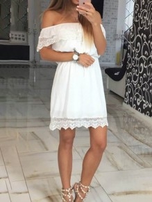 White Lace Pleated Off Shoulder Sweet Elegant Party Maxi Dress