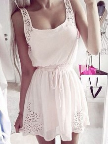 White Patchwork Lace Drawstring Bodycon Going out Mini Dress