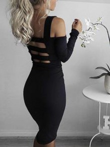 Black Cut Out Off Shoulder Shoulder-Strap Bodycon Fashion Casual Mini Dress