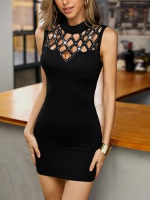 Black Cut Out Going out Comfy Fashion One Piece mini dress