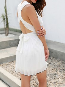 White Cross Back Tie Back Pleated Chiffon Deep V-neck Sleeveless Fashion Mini Dress