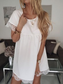 White Patchwork Lace Draped Round Neck Short Sleeve Going out Mini Dress
