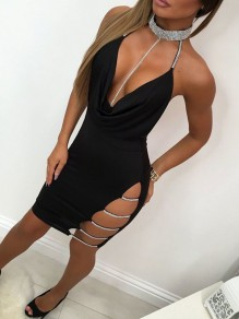 Black Cut Out V-neck Halter Neck Backless Spaghetti Strap Clubwear Party Bodycon Mini Dress