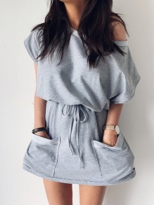 Grey Drawstring Pockets Asymmetric Shoulder Short Sleeve Fashion Mini Dress