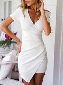 White Asymmetric V-neck Short Sleeve Fashion Mini Dress