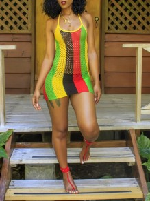 Red Rainbow Striped Rasta Pride Jamaica Halter Neck Backless Fishnet Sheer Bohemian Beach Mini Dress