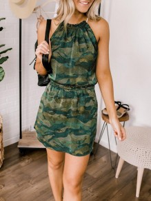 Green Camouflage Drawstring Bodycon Comfy Halter Neck Fashion Mini Dress