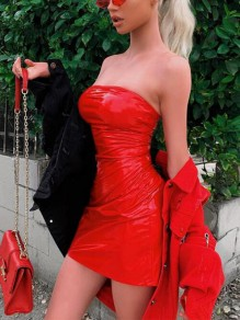 Rot Latex Bandeau Trägerloser Bodycon Enges Vereinwear Minikleid Wetlook Cocktailkleid