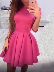 Rose Carmine Backless Bodycon Comfy Lace-up Ttrendy Fashion Mini Dress