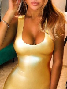Golden Pink Bodycon PU Leather Latex Rubber Party Clubwear Mini Dress