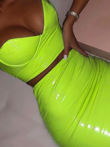 Neon Green Zipper Spaghetti Strap Tiefem V-Ausschnitt Backless Vinly Latex Minikleid