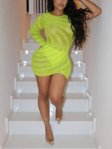 Neon Green Patchwork Grenadine Rhinestone Bodycon Sheer Sparkly Party Mini Dress