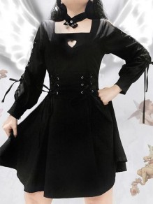 Schwarz Schnürung Cut Out Halloween Gothic Alternative Goth Vintage Minikleid Witch Cocktailkleid Skaterkleid