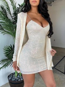 White Patchwork Sequin Spaghetti Strap Two Piece Sparkly Glitter Birthday Party Mini Dress With Outerwear