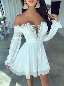 White Patchwork Lace Off Shoulder Lace-up Pleated Bohemian Boho Mini Dress