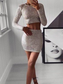 Silver Patchwork Sequin Two Piece Sparkly Glitter Birthday Party Mini Dress