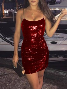Burgundy Patchwork Sequin Spaghetti Strap Bodycon Sparkly Glitter Birthday Party Club Music Festival Mini Dress
