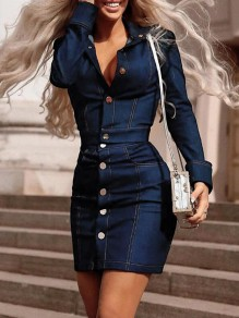 Navy Blue Single Breasted Pockets Turndown Collar Two Piece Bodycon Party Mini Dress