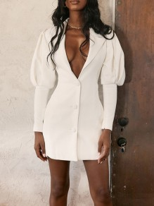 White Buttons V-neck Lantern Sleeve Bodycon Blazer Elegant Party Mini Dress