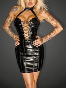 Black Cut Out Lace-up Halter Neck PU Leather Backless Latex Bodycon Mini Dress