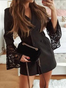 White Patchwork Lace Double Breasted Turndown Collar Elegant Party Blazer Mini Dress