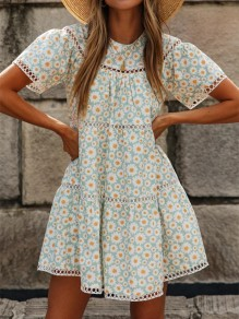 Light Blue Yellow Floral Cut Out Big Swing Fashion Mini Dress