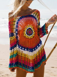 Cichic mini robe en crochet rainbow gradient couleur oversized boho femme multi