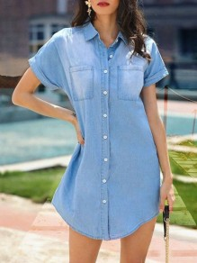 Blue Pockets Single Breasted Short Sleeve Fashion Jeans Denim Mini Dress