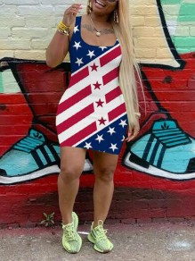Blue-White American Flag Pattern Independence Day Square Neck Bodycon Mini Dress