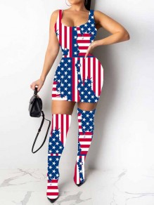 Blue-Red American Flag Print White Knee Socks Included Bodycon Independence Day Party Mini Dress