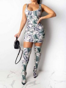 Green US Dollar Bills Print White Knee Socks Included Bodycon Party Mini Dress