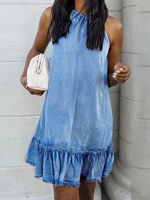 Light Blue Ruffle Halter Neck Sleeveless Fashion Cute Denim Mini Dress
