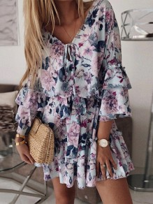 Blue Flowers Draped Ruffle Flare Sleeve Fashion Mini Dress