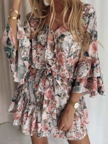 Beige Flowers Draped Ruffle Flare Sleeve Fashion Mini Dress
